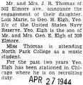 Engagement announcement of Lois Marie Thomas to George H. Elgh