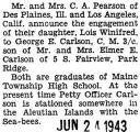 Engagement announcement of Lois Winifred Pearson to George E. Carlson