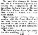Engagement announcement of Miss Barbara Truesdell to Quartermaster Richard Myers