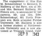 Engagement announcement of Miss Elsa Schmeltekopf to Kenneth D. Hallberg