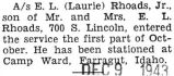 Evan Rhoads was stationed at Camp Ward in Farragut, Idaho
