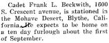Frank Beckwith was stationed in the Mohave Desert in Blythe, California
