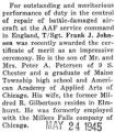 Frank Johnson awarded a certificate of merit at the AAF service command in England