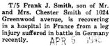 Frank Smith recovered from a leg injury he suffered in Germany at a hospital in France