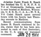 Franklin Ruark completed V-4 training and was transferred to Madison, Wisconsin
