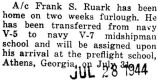 Franklin Ruark was home on furlough before reporting to Athens, Georgia