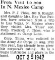 Frederick Thies' mother visited him at Camp Luna in New Mexico where Frederick was stationed...