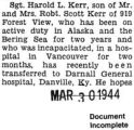 Harold Kerr transferred to Darnall General Hospital from a hospital in Vancouver (Document...