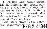 Henry Gross and his wife, proud parents of a baby boy, James Henry, born February 16th
