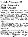 Dwight Mossman 23 Wins Commission Field Artillery