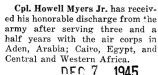 Howell Myers received an honorable discharge after serving for three and a half years