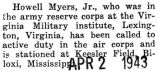 Howell Myers was called to active duty in the air corps
