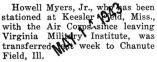 Howell Myers was transferred to Chanute Field in Illinois from Keesler Field in Mississippi