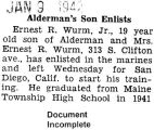 """Alderman's Son Enlists"" (Document Incomplete)"