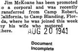 James McKoane was transferred from Camp Robert to Camp Blanding in Florida (Document Incomplete)