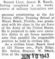 James Ruark graduated from the Air Forces Officer Training school at Miami Beach, Florida