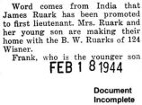 James Ruark was promoted to first lieutenant while stationed in India (Document Incomplete)