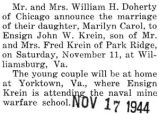 John Krein married Marilyn Carol Doherty in Williamsburg, Virginia