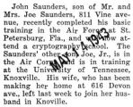 John Saunders attended cryptography school after completing air force basic training