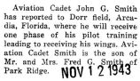 John Smith took pilot training at Dorr Field in Arcadia, Florida