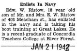 Enlists in Navy