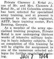 Kotal selected for specialized army training with the ASTP at Fort Benning, Georgia