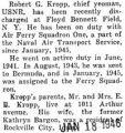 Kropp discharged from the USNR at Floyd Bennett Field in New York