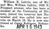 Lahvic called into service and stationed at Camp Robinson, Nebraska