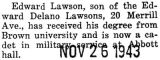 Lawson a cadet in military service at Abbott Hall at Northwestern University