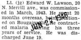 Lawson discharged after three years of service, twenty months of which he spent overseas