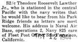 Lawther's address given so his friends could write to him while he was stationed in the Central...