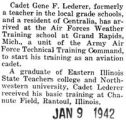 Lederer training as an aviation cadet in Grand Rapids, Michigan