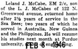 Leland McCabe was discharged after being in the service with the Seabees for two and a half years