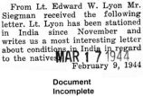 Letter from Edward Lyon, who was stationed in India, to Mr. Siegman (Document Incomplete)