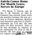 Galvin Comes Home For Month Leave, Serves in Europe