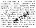 Marriage announcement for Mary DeCelle of Mundelein to Richard Reinert