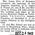 Marriage announcement of Charlotte Pirie of Evanston to Lt. James J. Fraser Jr.