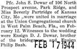Marriage announcement of PFC. John F. Dewar to Miss Beverly Partridge of Kansas City, MO