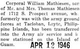 Mathiesen was transferred from Leyte in the Philippines to Guam