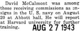 McCalmont commissioned an ensign and will go to Harvard for further training