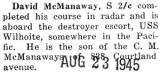 McManaway completed a course in radar and is stationed in the Pacific