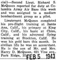 McQueen assigned to a medium bombardment group as a pilot