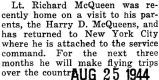 McQueen attached to the service command in New York City after a furlough at home