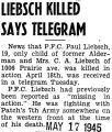 Liebsch Killed Says Telegram