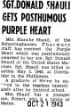 Sgt. Donald Shaull [sic] Gets Posthumous Purple Heart