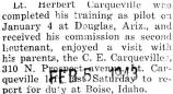 Herbert Carqueville visited with his parents after he received his commission at Douglas, Arizona