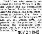 Lee was transferred to Orlando, Florida after he was commissioned a Second Lieutenant
