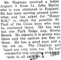 Paraphrased letter from Buslee, who was stationed in England, to Mr. Siegman (Document Incomplete)