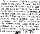 Paraphrased letter from Weiler, who was stationed in Oceanside, California, to his mother