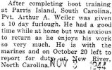 Weiler was home on a ten day furlough before he reported to New River, North Carolina